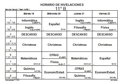 HORARIO DE NIVELACIONES 11° B